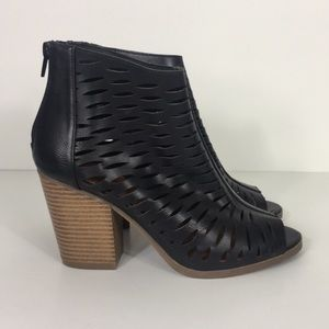 Rampage Black Cut Out Peep Toe Heeled Booties